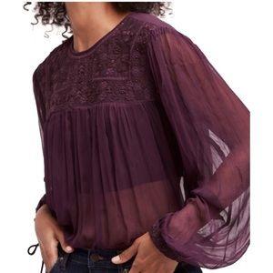 NWT Free People retro sheer blouse in dark purple